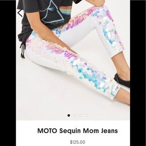 Topshop Sequin Mom Fairy Mermaid Holographic Jeans